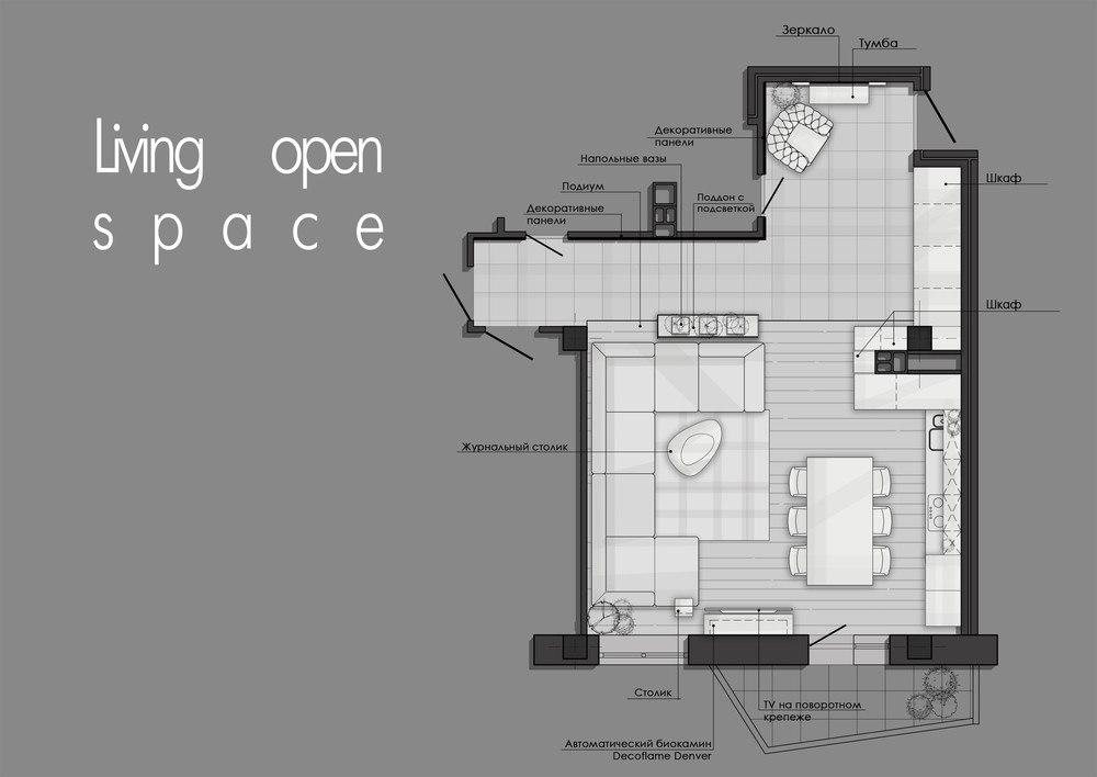 Интерьерное решение открытого жилого пространства площадью 50 кв.