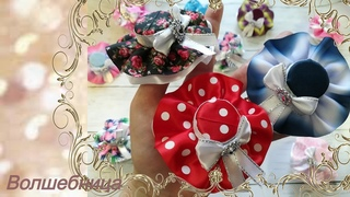 Бантики - шляпки//DIY ribbon bows. Bows - hats.