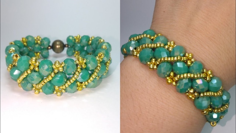 Şık bileklik yapımı Стильный браслет из кристалей Elegant bracelet