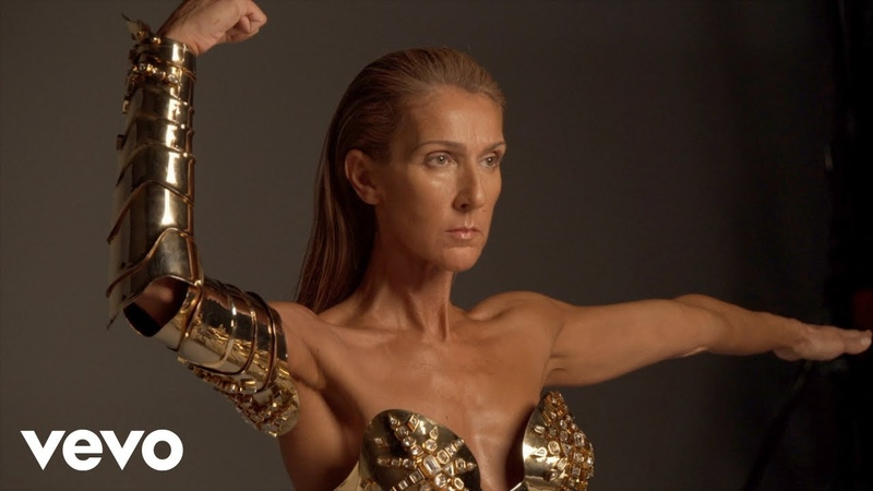 Behind the scenes of the Courage album photoshoot Gold metal corset by Thierry Mugler