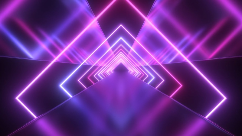 Future Neon Laser Squares with Ultraviolet Light Tunnel Reflections 4K VJ Loop Moving Background
