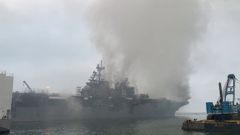 USS Bonhomme Richard (LHD 6) Firefighting Efforts, July 13th Part One