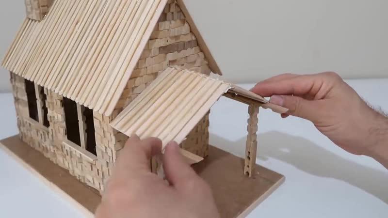How to Make House From Wooden Clothespin Ahşap Mandallardan Ev Nasıl Yapılır✔