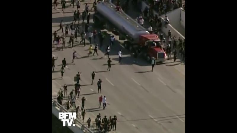 Minneapolis un camion citerne fonce sur des manifestants