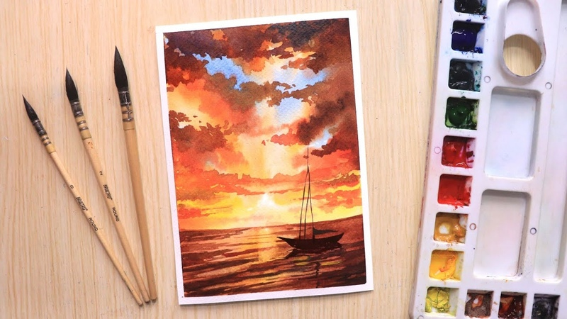 Watercolor painting for beginners beautiful sunset and boat