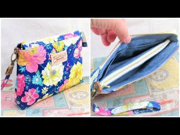 DIY clutch bag tutorial クラッチバッグ作り方  Zipper Pouch ポーチの作り方
