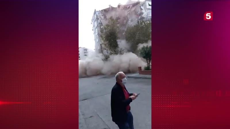 Видео обрушения жилого дома вовремя землетрясений вТурции