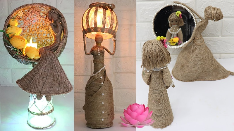 5 Beautiful Jute craft doll | How to decorate doll with jute