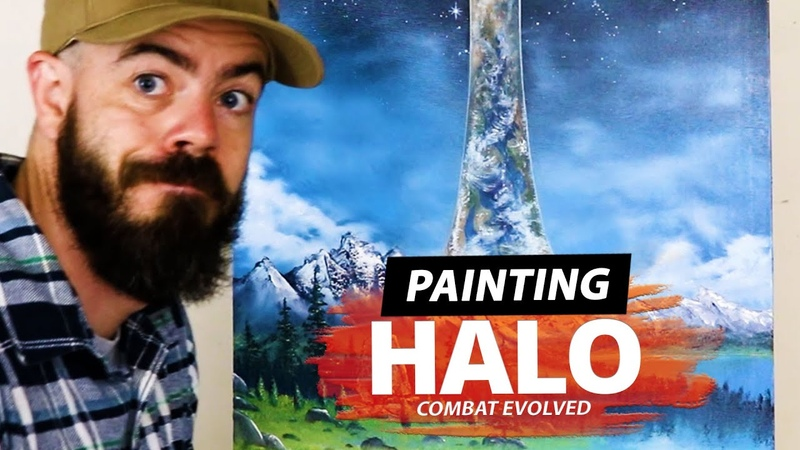 Painting a scene from Halo Combat Evolved in the style of Bob Ross Two Ruru Paints