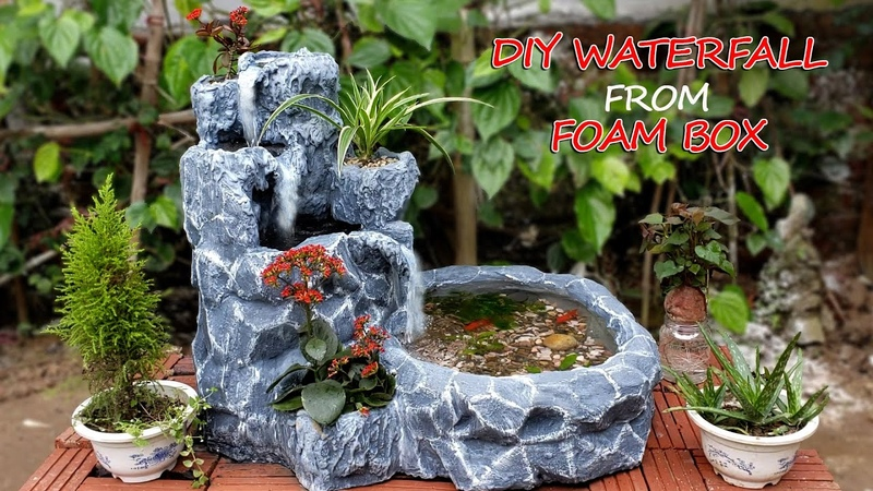 Amazing Ideas Make Beautiful Waterfall From Foam Box and Cement For Your Garden