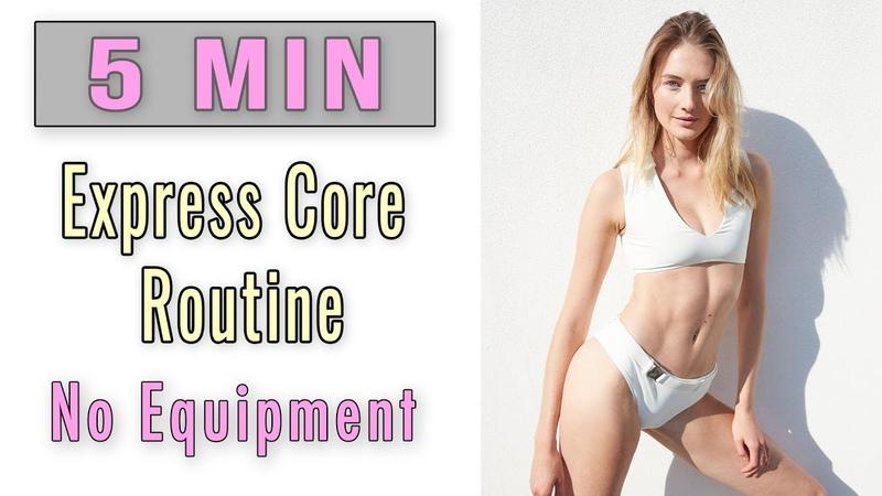 5 MIN Express Ab Workout No Equipment Model Fitness Routine @Sami Clarke Sanne Vloet