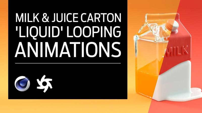 Cinema 4D - Milk Juice Carton Tutorial. Volume Builder 'Liquid' Loop Animations