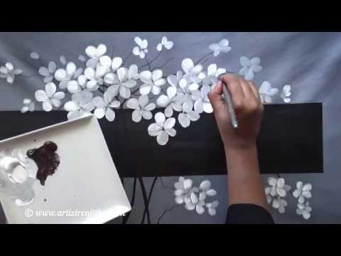 Step by step acrylic painting for beginners on Large Canvas BLACK WHITE