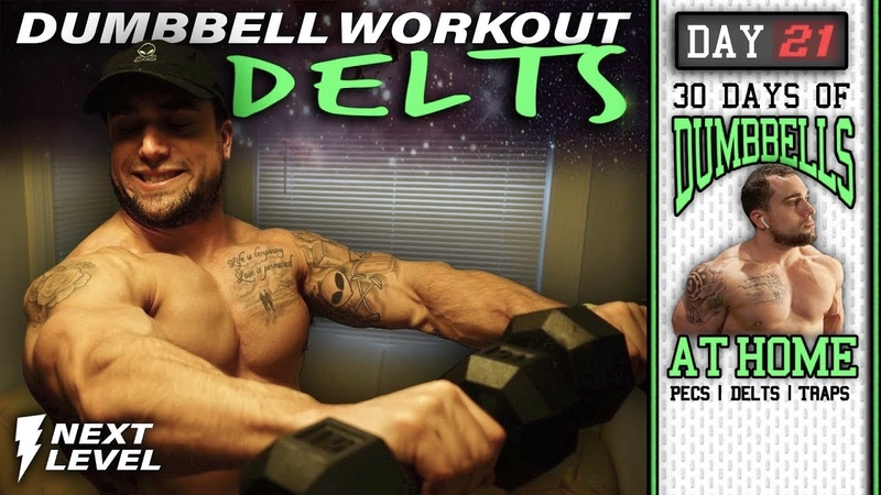 Dumbbell Home Workout for Shoulders 30 Days to Build Pecs Delts Trap Muscles Dumbbells Only
