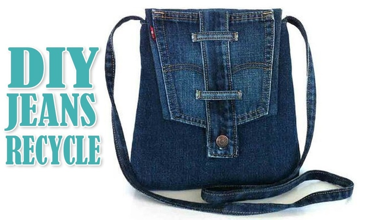 DIY JEANS LONG STRIP BAG IDEA OUT OF OLD JEANS Cute Purse Bag From Jeans Pants Recycle