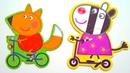Фредди на велосипеде и Зоя на самокат - собираем пазл для малышей с героями мультика Свинка Пеппа
