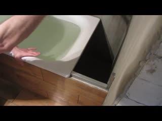 Часть-7.Как обойти ванну гипсокартоном и приклеить плитку Cerrad Floor на пол эк