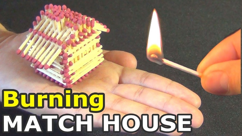 Burning MATCH HOUSE   We burn a small match house completely
