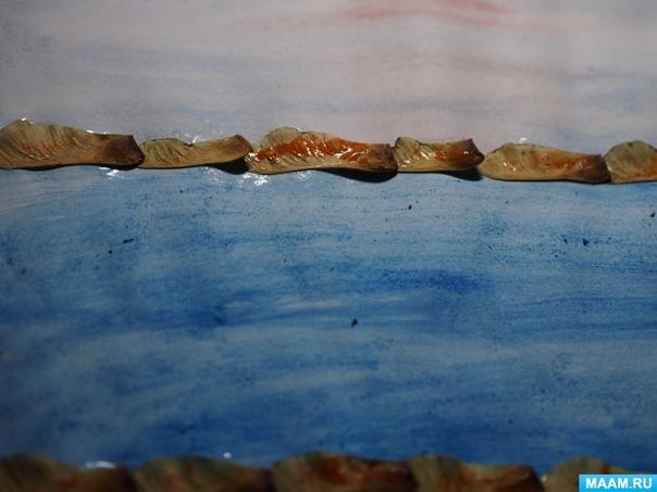 Поделка из листьев : «Осенний пейзаж». Автор: Наталья Добрынина Материалы: листья (перед работой необходимо немного подсушить,лист бумаги А4,акварель,
