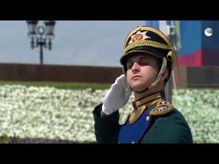 Церемония подъема государственного флага и вручение Госнаград