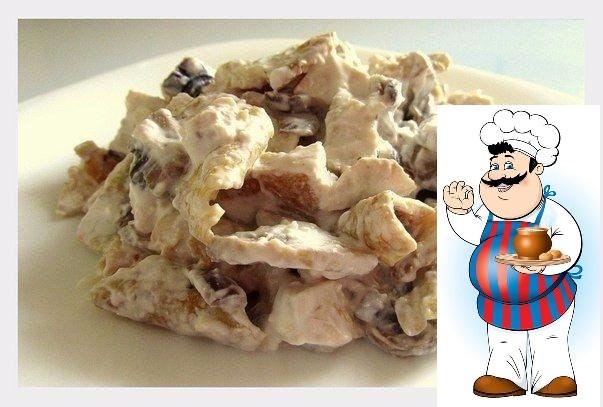 БЕЛКОВЫЙ САЛАТ Итого на 100 грамм 85 ккал Б/Ж/У 12.5 / 2.5 / 3.3 Ингредиенты: - грибы 180гр., - куриное филе отварное 2 шт. (170гр.), - 1 яйцо, 2 белка, - 2 средние луковицы (100 гр.), - творог