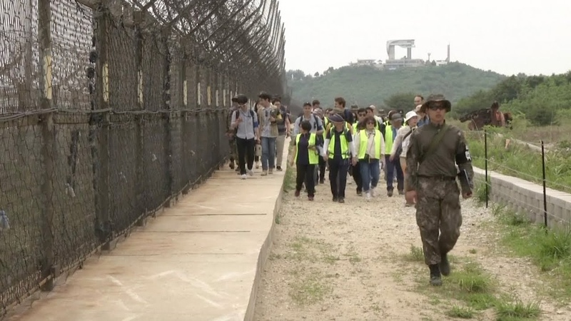Tourists visit newly opened trails in the DMZ