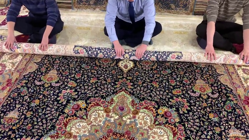 10x14ft 305x427cm Handmade silk carpet YL1891 from Yilong Carpet factory only one piece left
