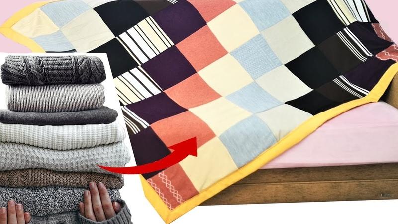 Eski Kazaklardan Kırkyama Battaniye Turn Old Sweater into Patchwork Blanket Diy
