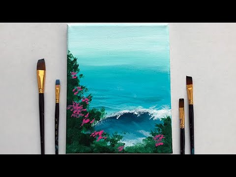 Ocean Waves Acrylic Painting For Beginners Step By Step