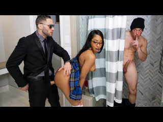 Lala Ivey - Break Enter Me - All Sex Teen Blowjob Threesome MFM Ebony Exotic Glasses Natural Tits Schoolgirl MFM Hardcore