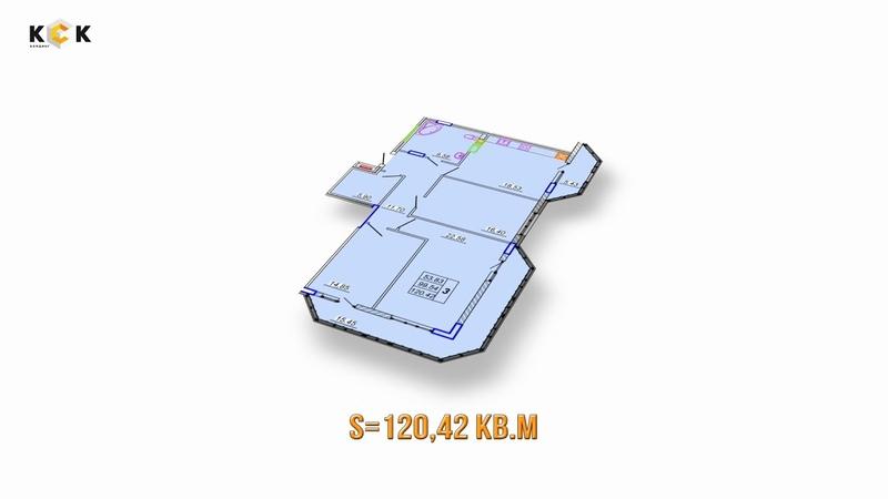 ЖК НАУМОВА 7. Планировка 3-комнатной квартиры S=120,42 кв.м
