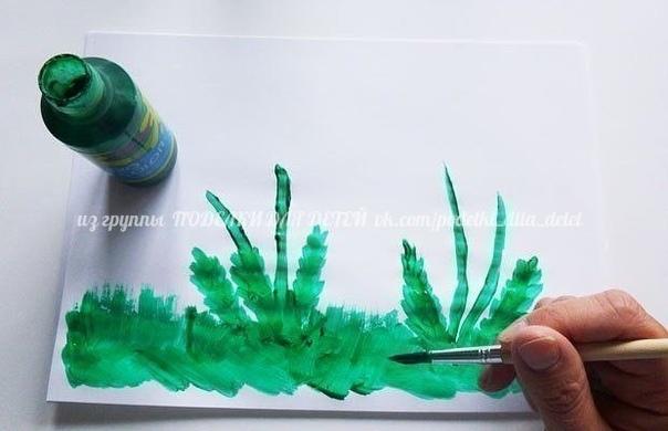 ОДУВАНЧИКИ Рисование вилкой и аппликация из ватных дисков.