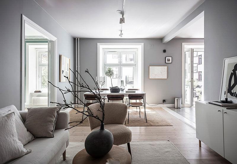 Пастельные стены и светлая мебель: воздушная квартира в Гётеборге || 01