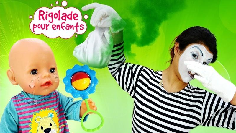 Rigolade pour enfants La mime nounou joue avec Baby Annabell